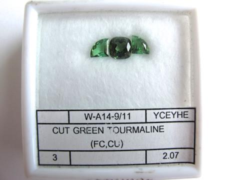 Fancy Cut Green Tourmaline (set of 3)