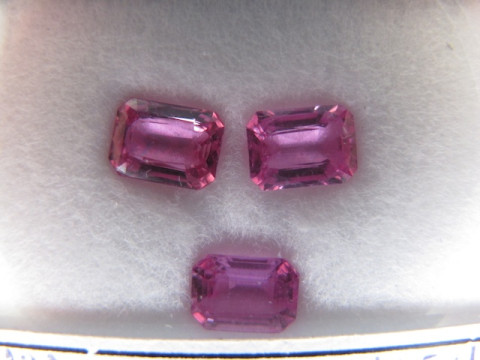 Pink Sapphires (7 x 5.2 Octagon set of 3)