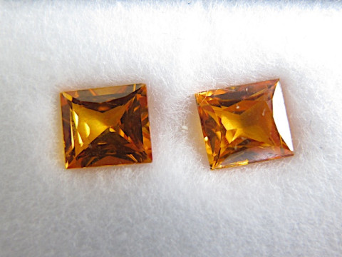 Pair of Yellow Sapphires (6.5 x 5.8 Rectangular Princess)